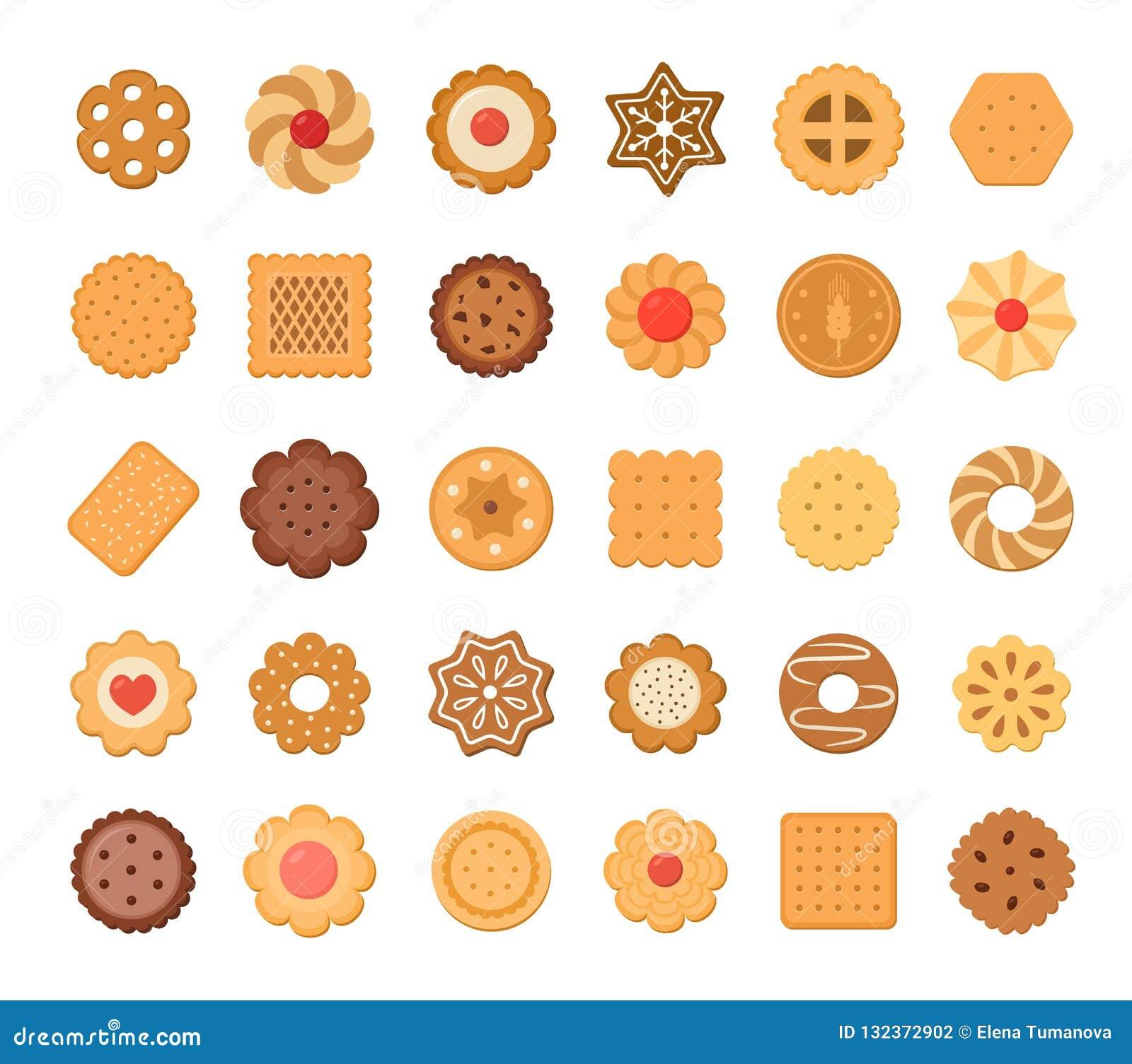 Grand ensemble de biscuits et de biscuits D isolement sur le fond blanc