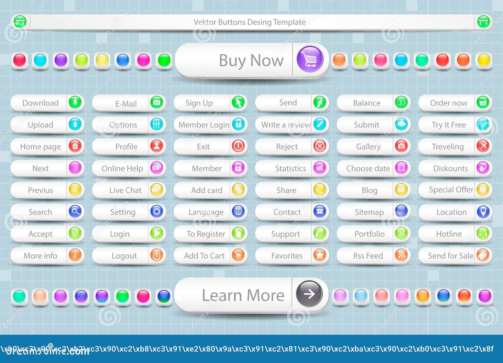 Grand ensemble de boutons pour le site