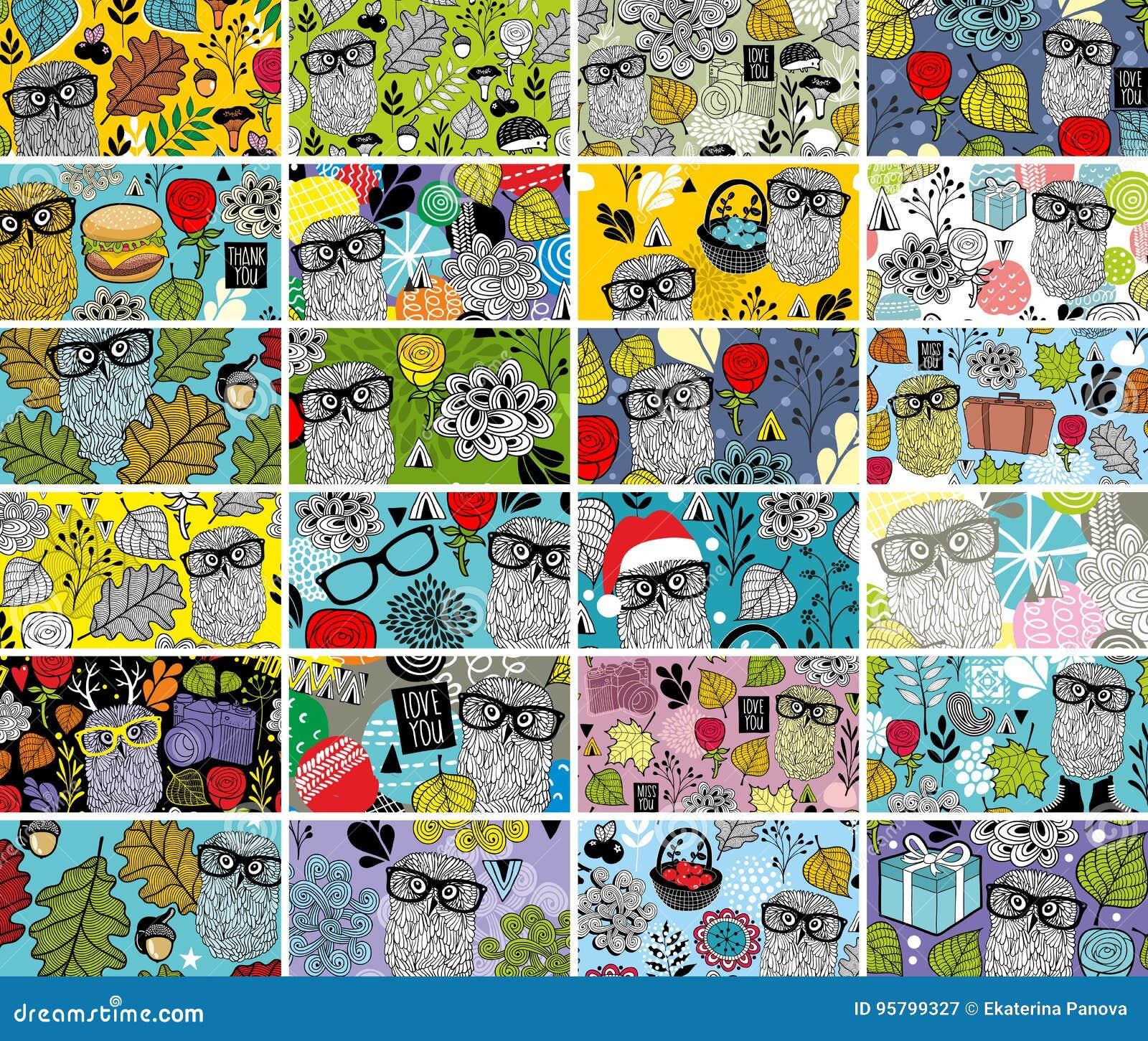 Grand Ensemble De Cartes Visite Professionnelle Horizontales Avec Des Lments Conception Florale