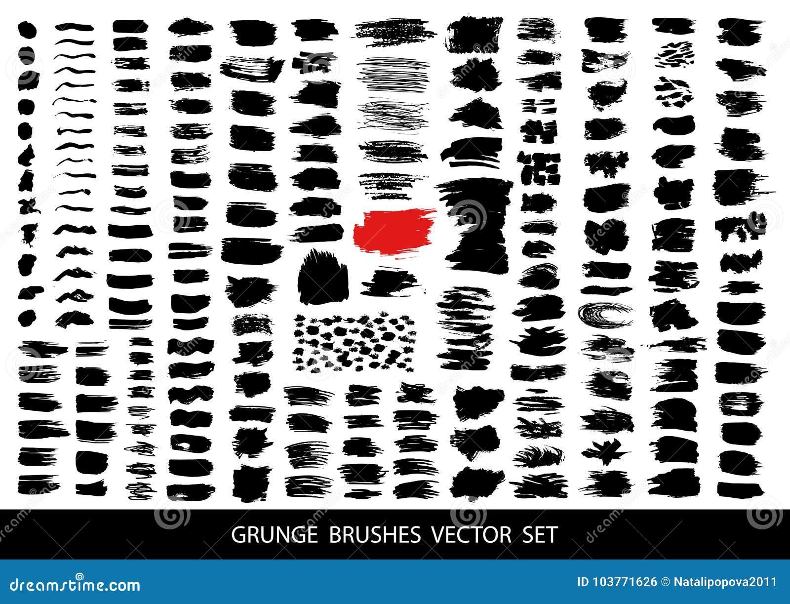 Grand ensemble de peinture noire, courses de brosse d encre, brosses, lignes Éléments artistiques sales de conception, boîtes, ca