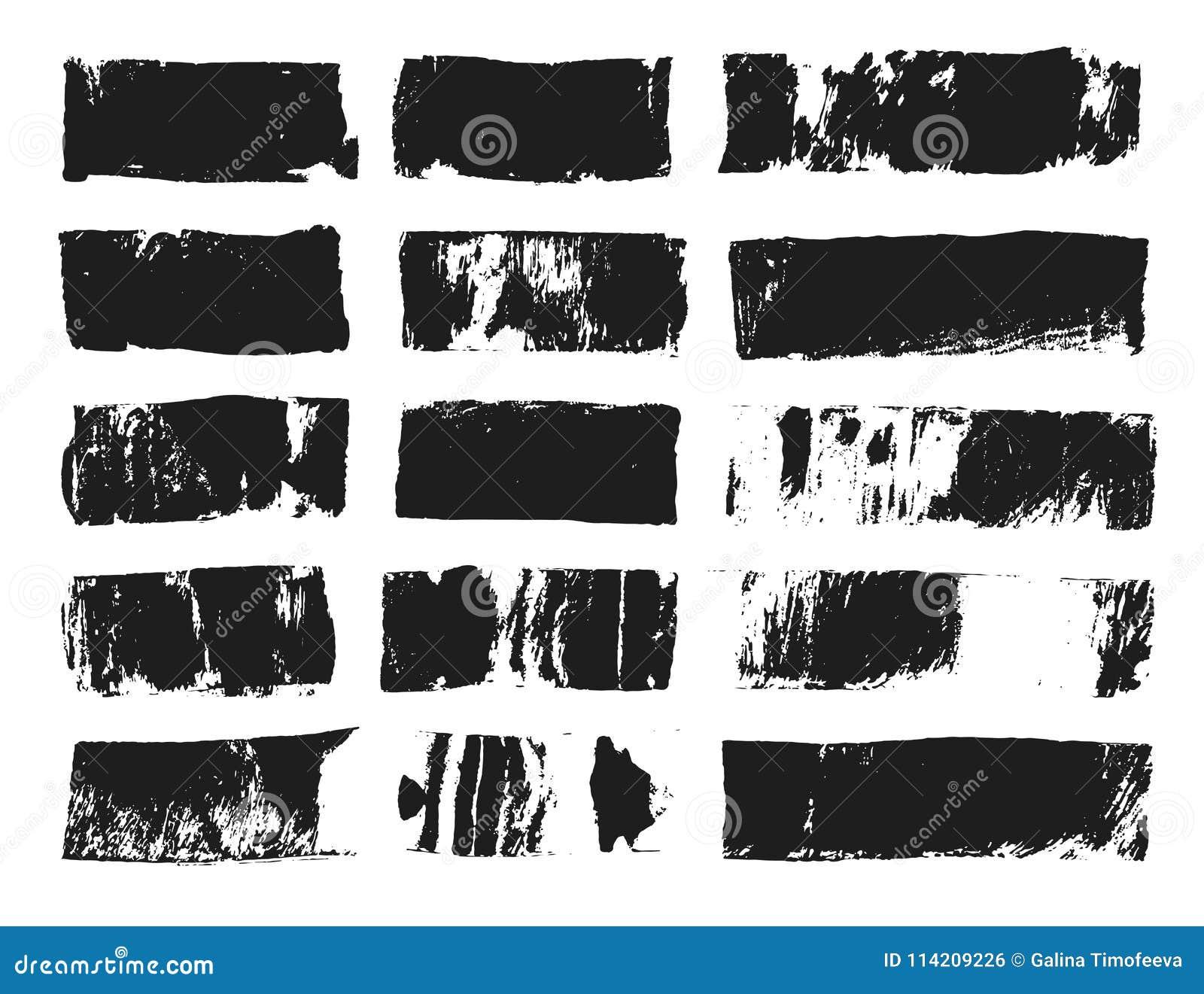 Grand ensemble de zone de texte rectangulaire Rayure grunge de peinture Course de brosse de vecteur Taches grunges noires avec l