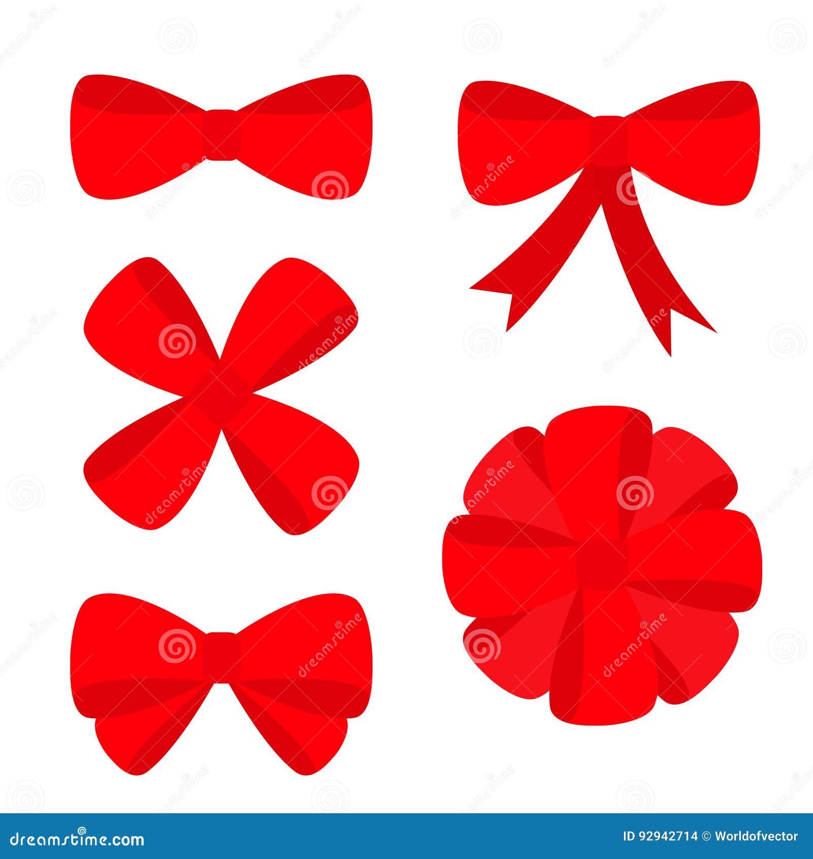 Grand ensemble rouge d icône d arc de Noël de ruban Élément de décoration pour le présent de giftbox Conception plate Fond blanc