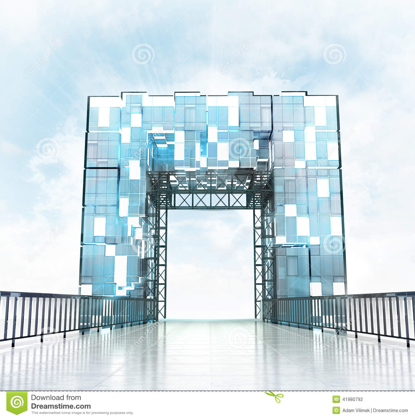 Grand Entrance Through Modern Gateway Architecture Stock