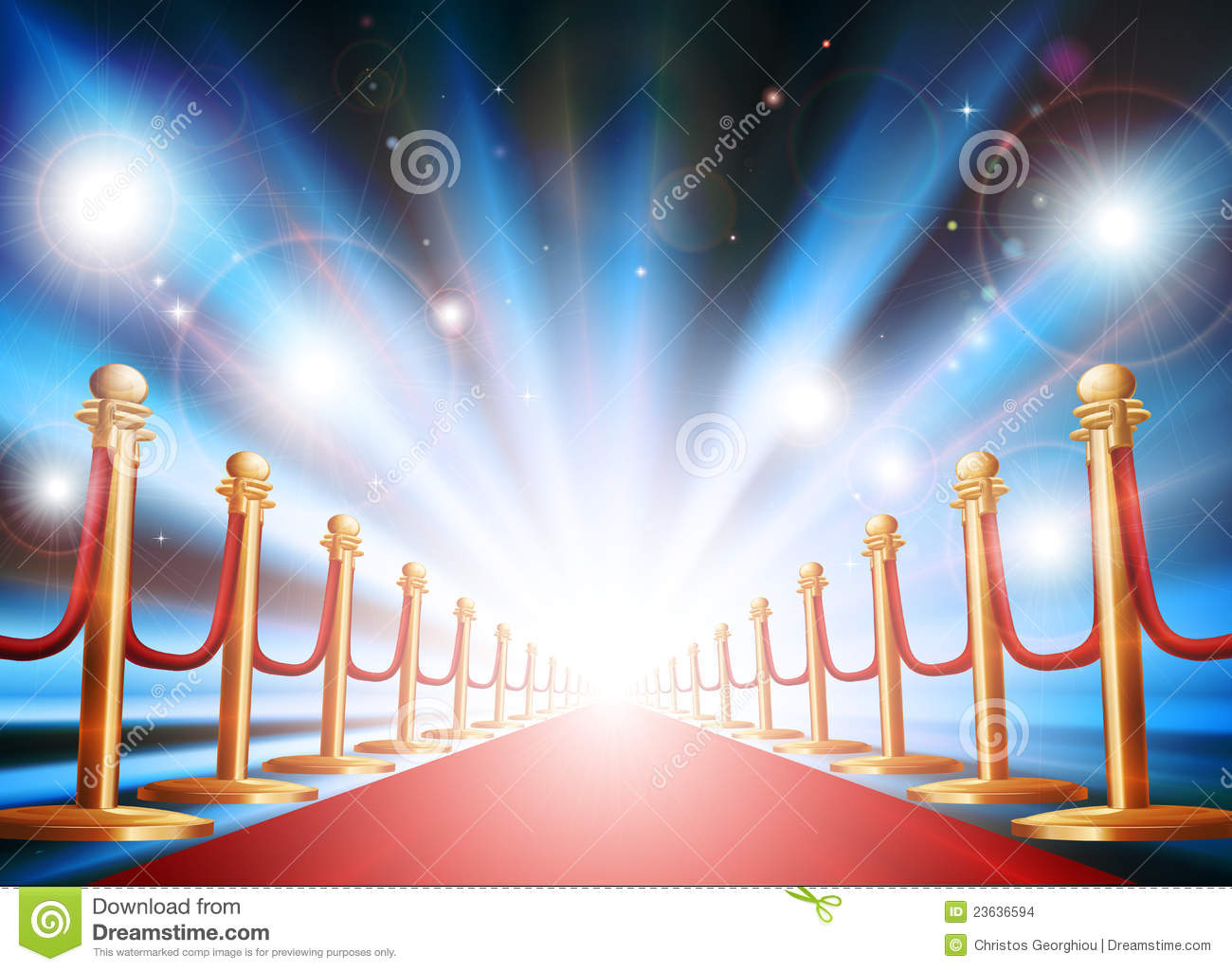 Grand entrance with red carpet and flash lights