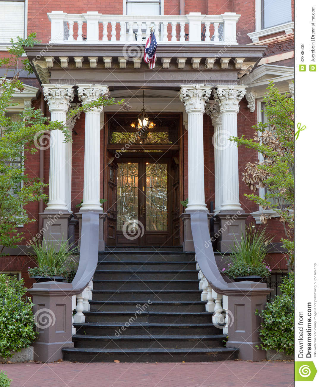 Grand Entrance To Colonial Style House Royalty Free Stock