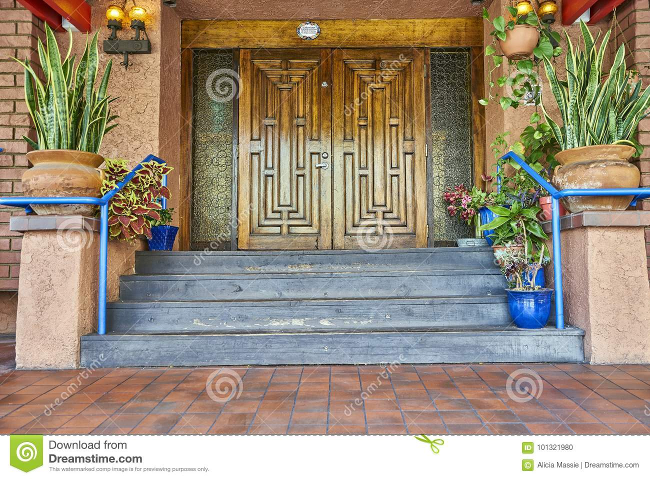 Grand Entryway Marked By Large Double Wood Doors Stock Photo Image