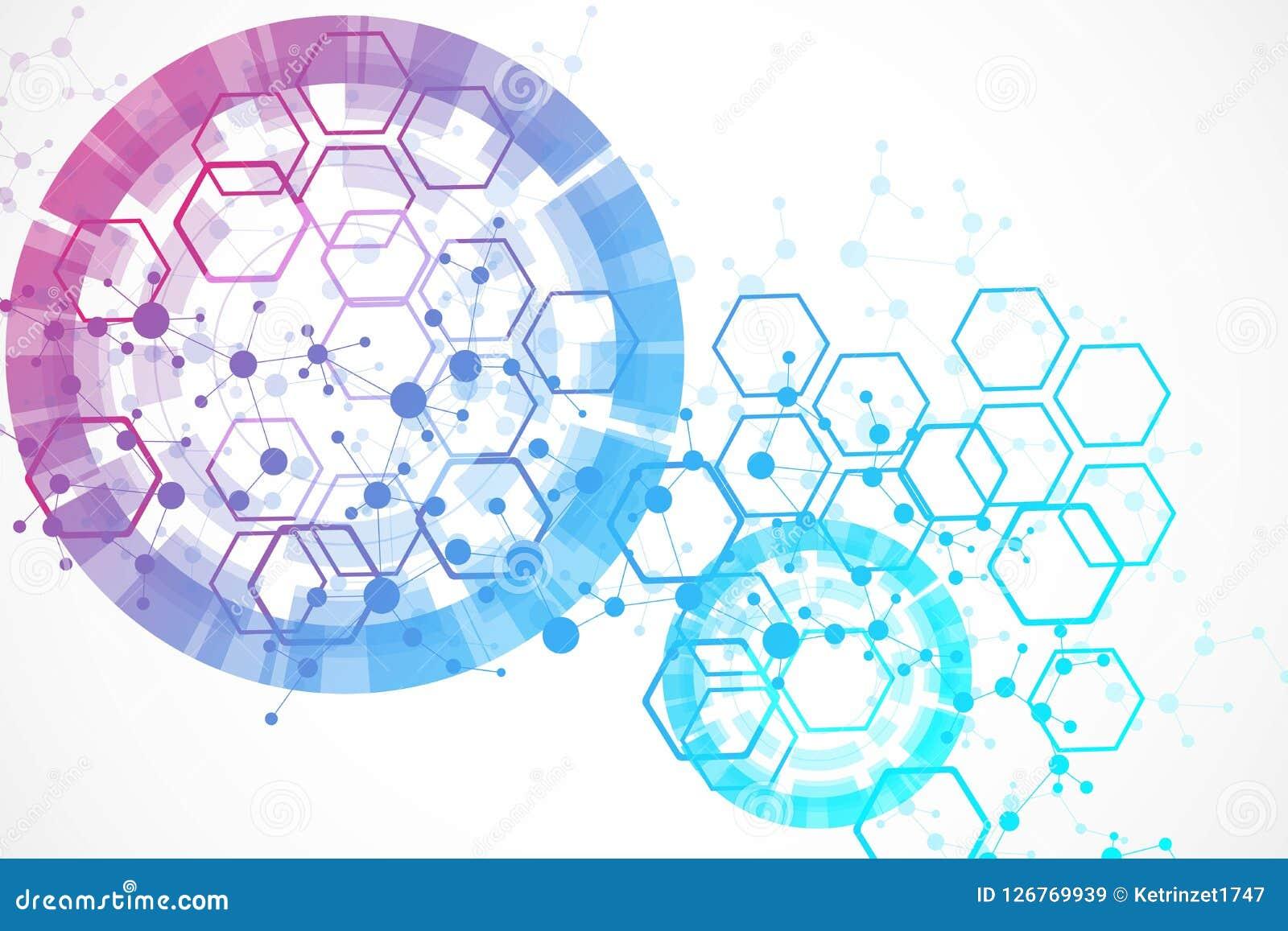 Grand fond de visualisation de données Fond abstrait virtuel futuriste moderne Modèle de réseau de la Science, se reliant