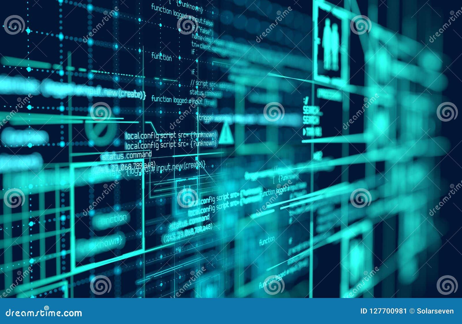 Grand fond futuriste complexe de données