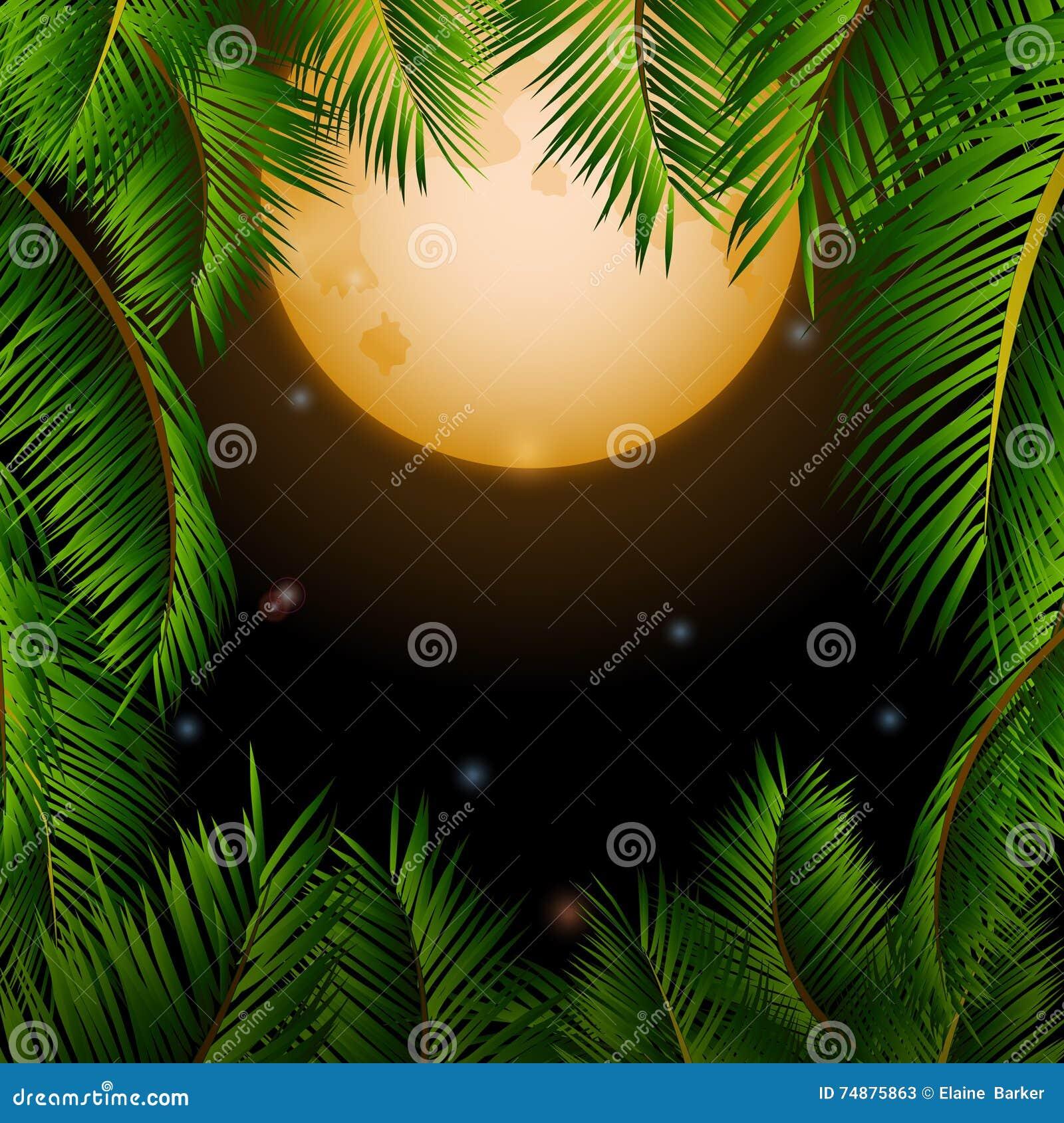 Grand fond tropical de lune et de palmiers