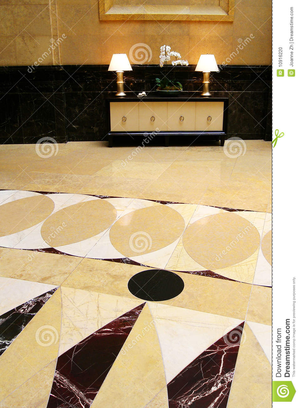 Grand hall with marble flooring