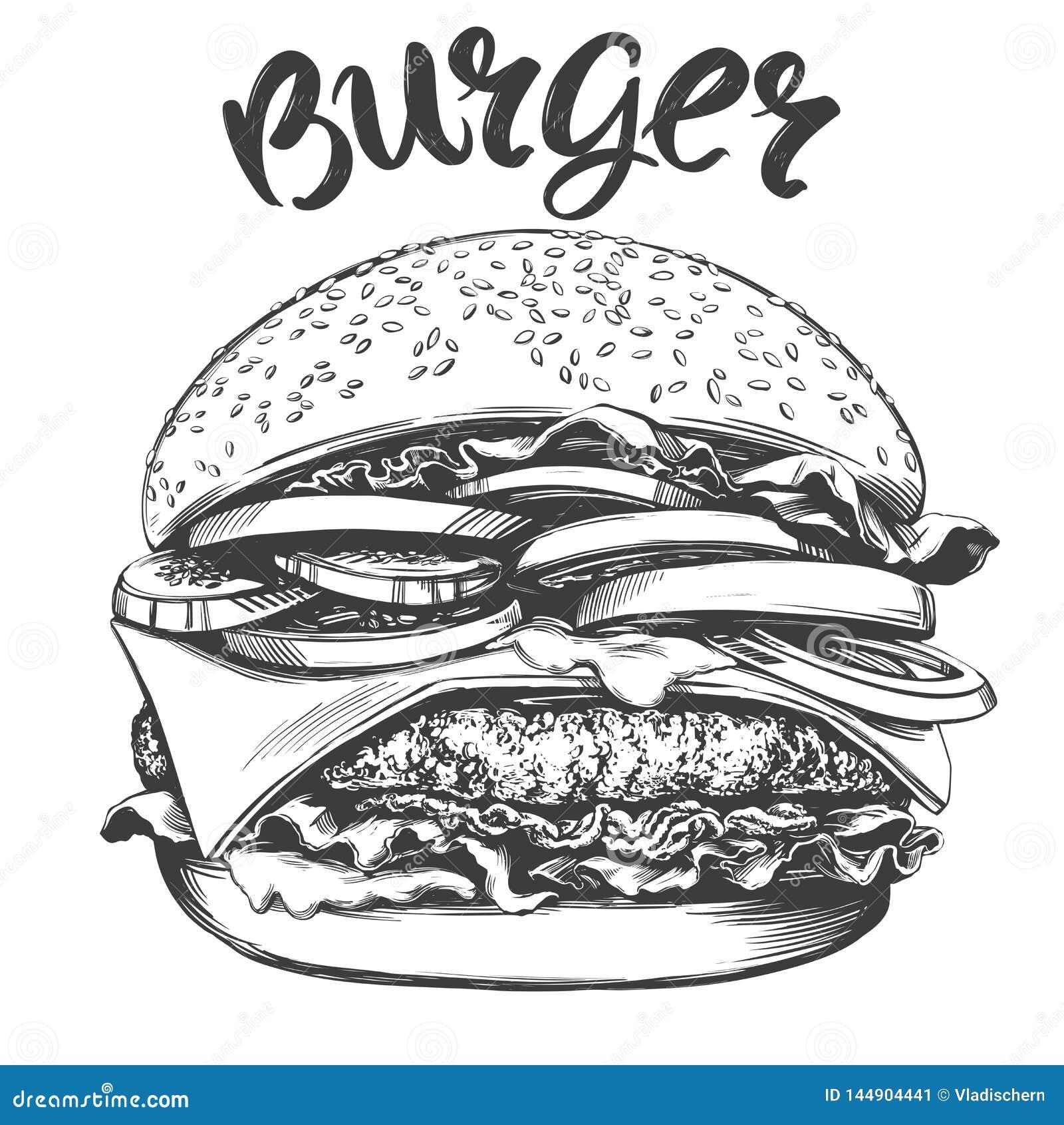 Grand hamburger, croquis réaliste d illustration tirée par la main de vecteur d hamburger
