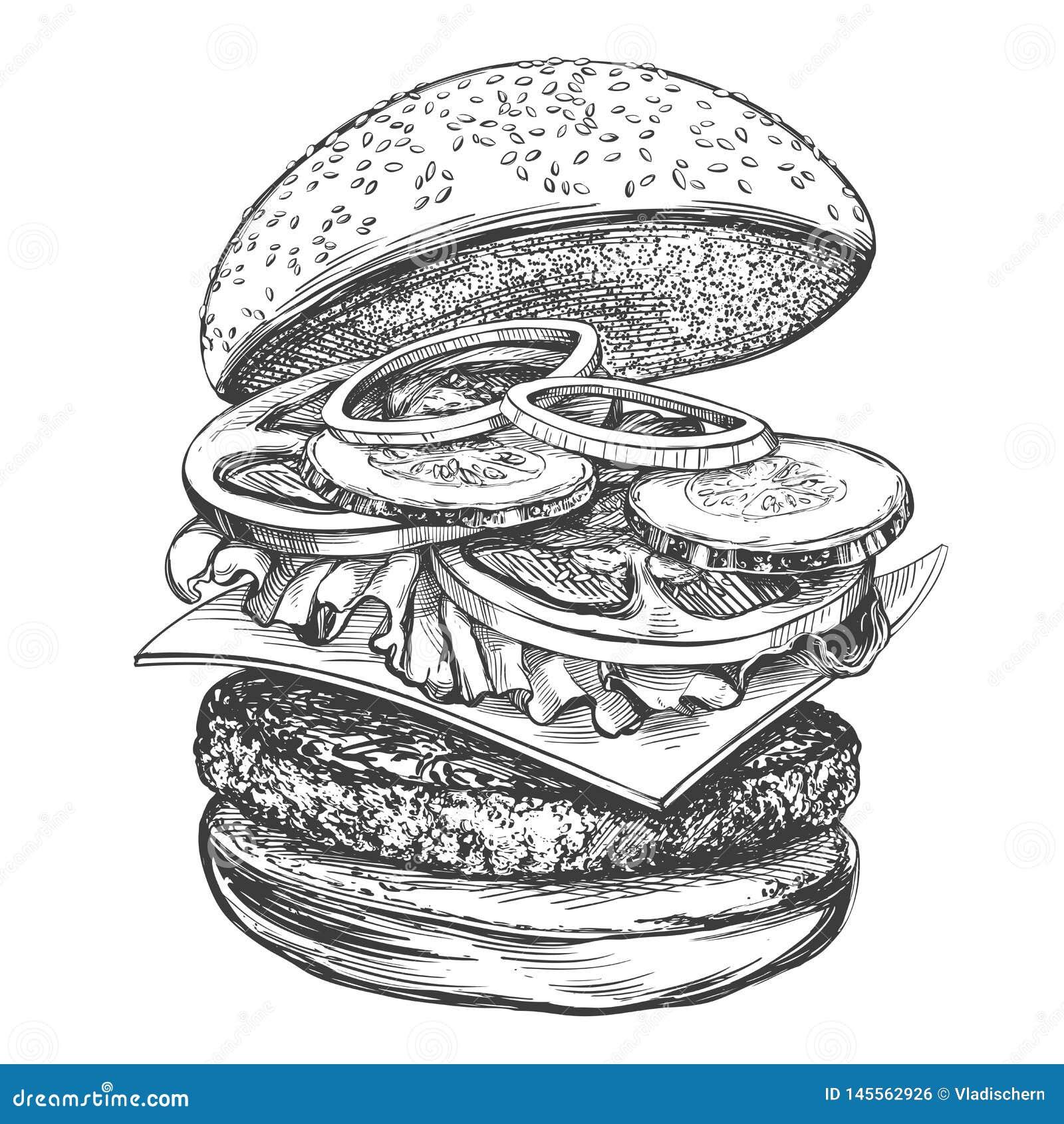 Grand hamburger, croquis r?aliste d illustration tir?e par la main de vecteur d hamburger