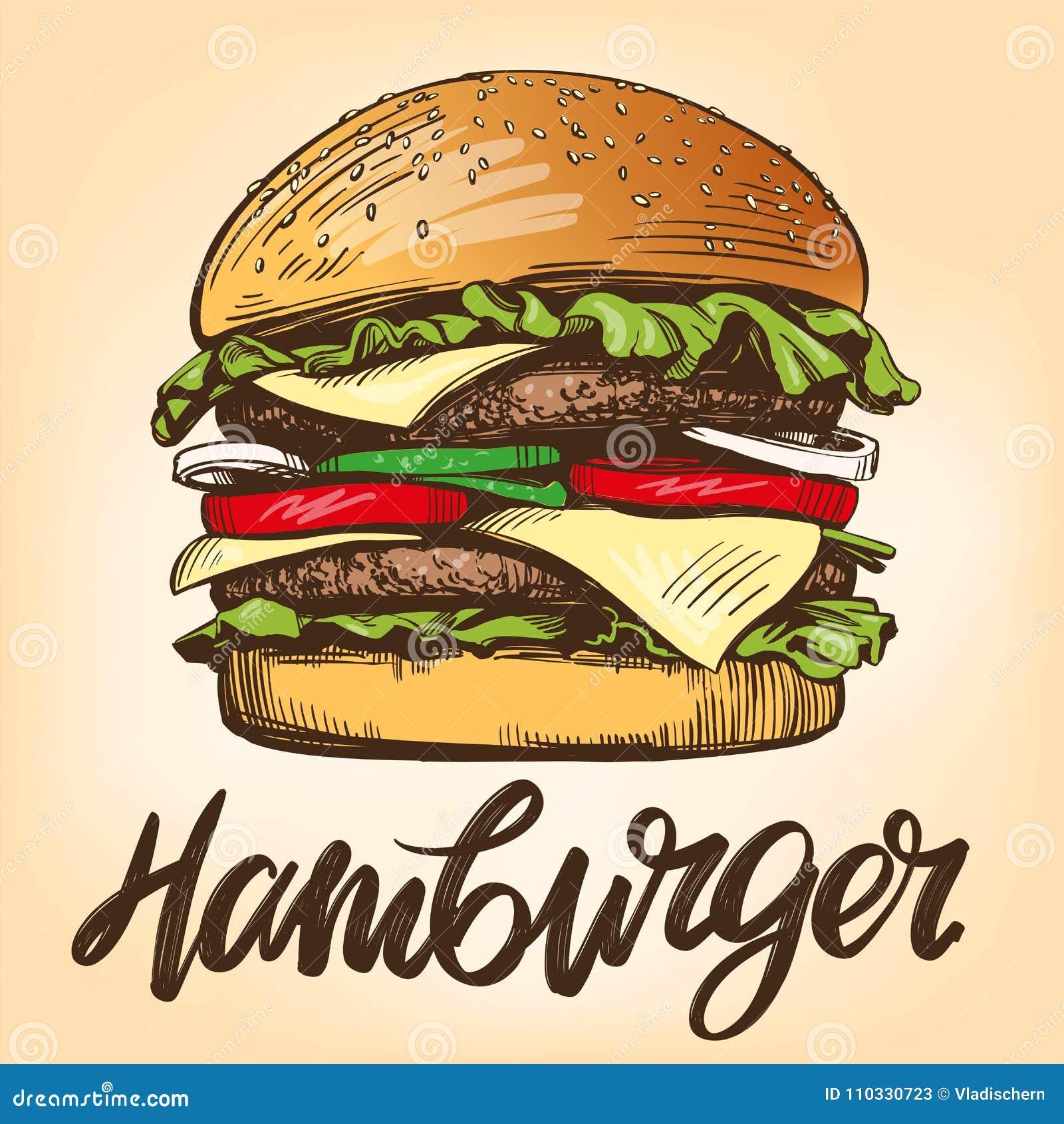 Grand hamburger, style de vecteur d hamburger rétro de croquis tiré par la main d illustration
