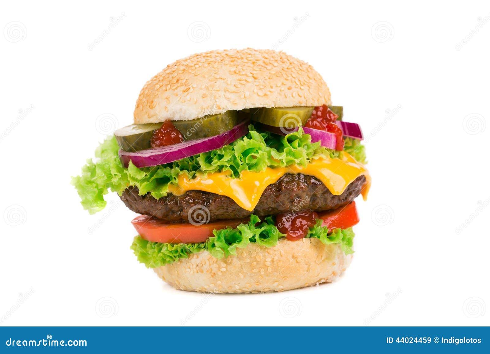 Grand hamburger sur le fond blanc image stock image du for Fond blanc cuisine