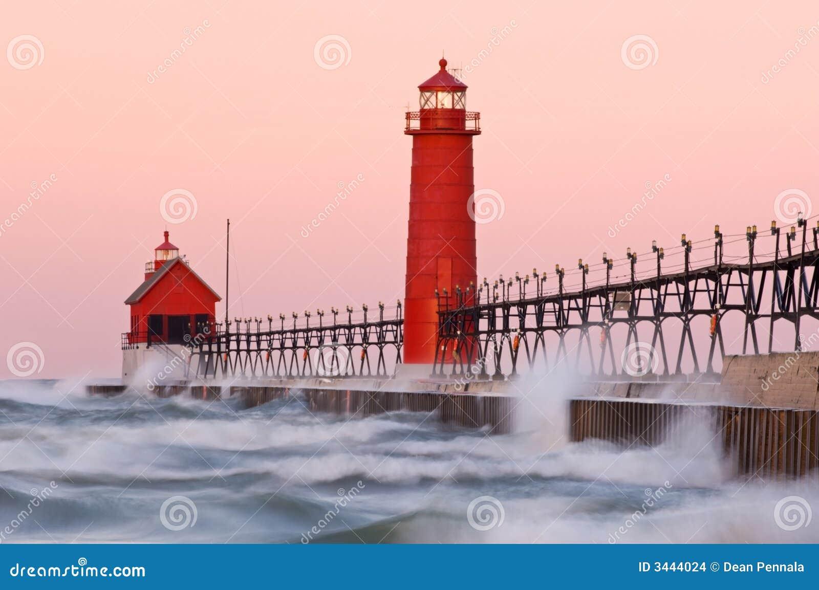 grand haven lighthouse stock photo image of pier. Black Bedroom Furniture Sets. Home Design Ideas