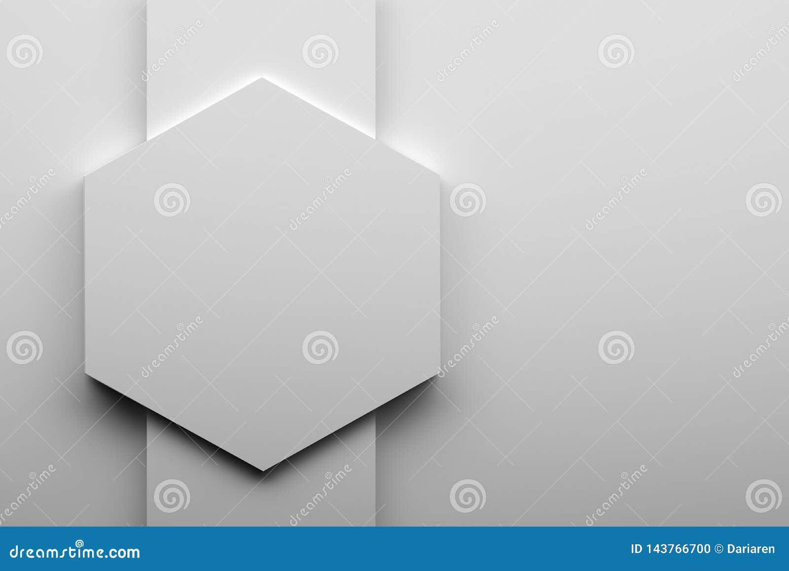 Grand hexagone blanc