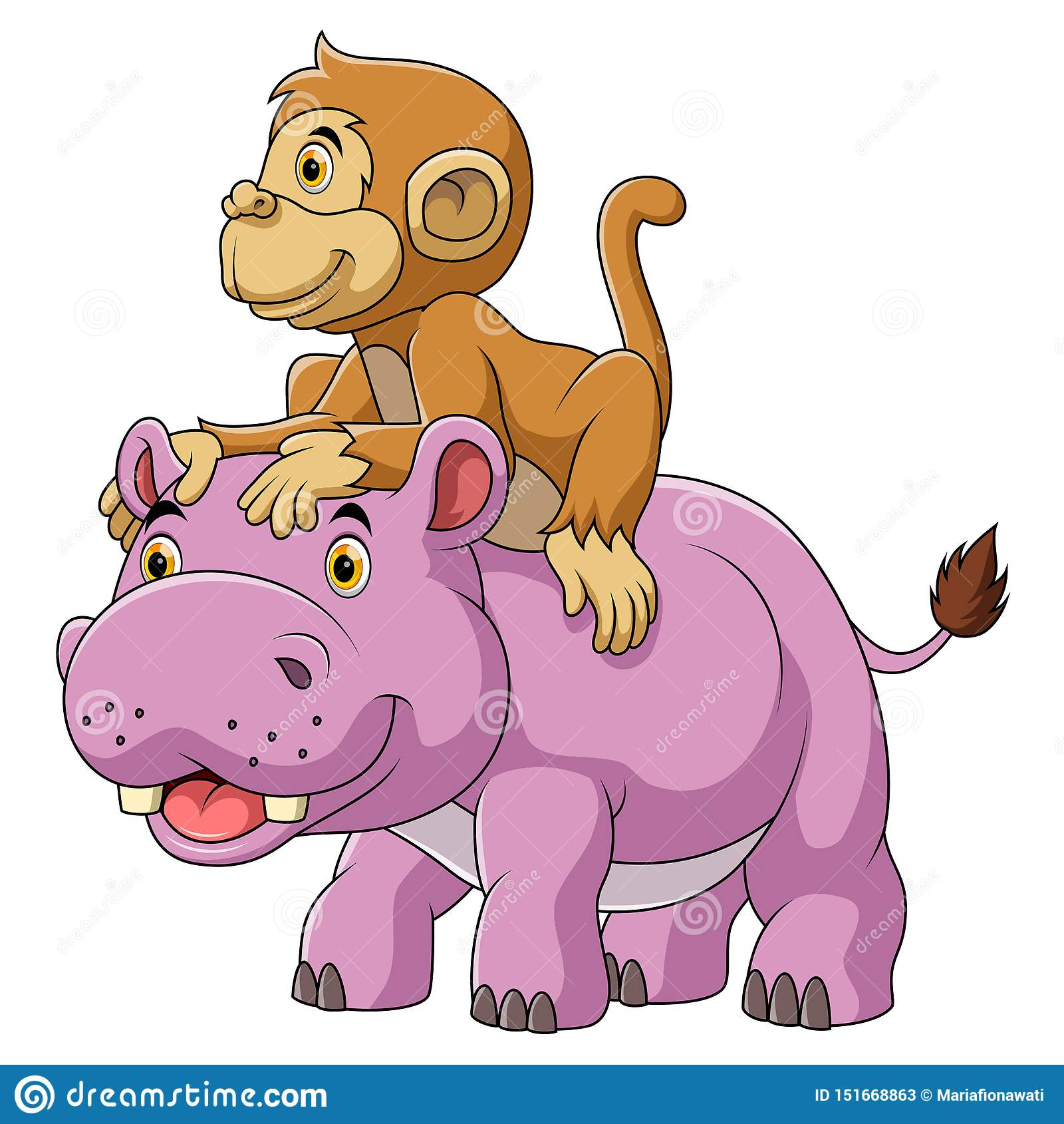 Grand hippopotame et singe mignon