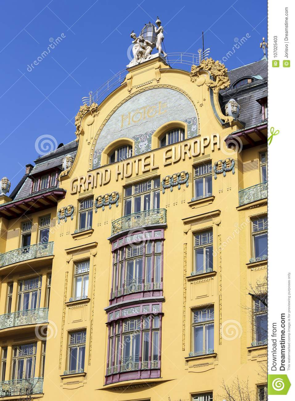 grand hotel europa in prague editorial stock photo image of accomodation european 107025403. Black Bedroom Furniture Sets. Home Design Ideas