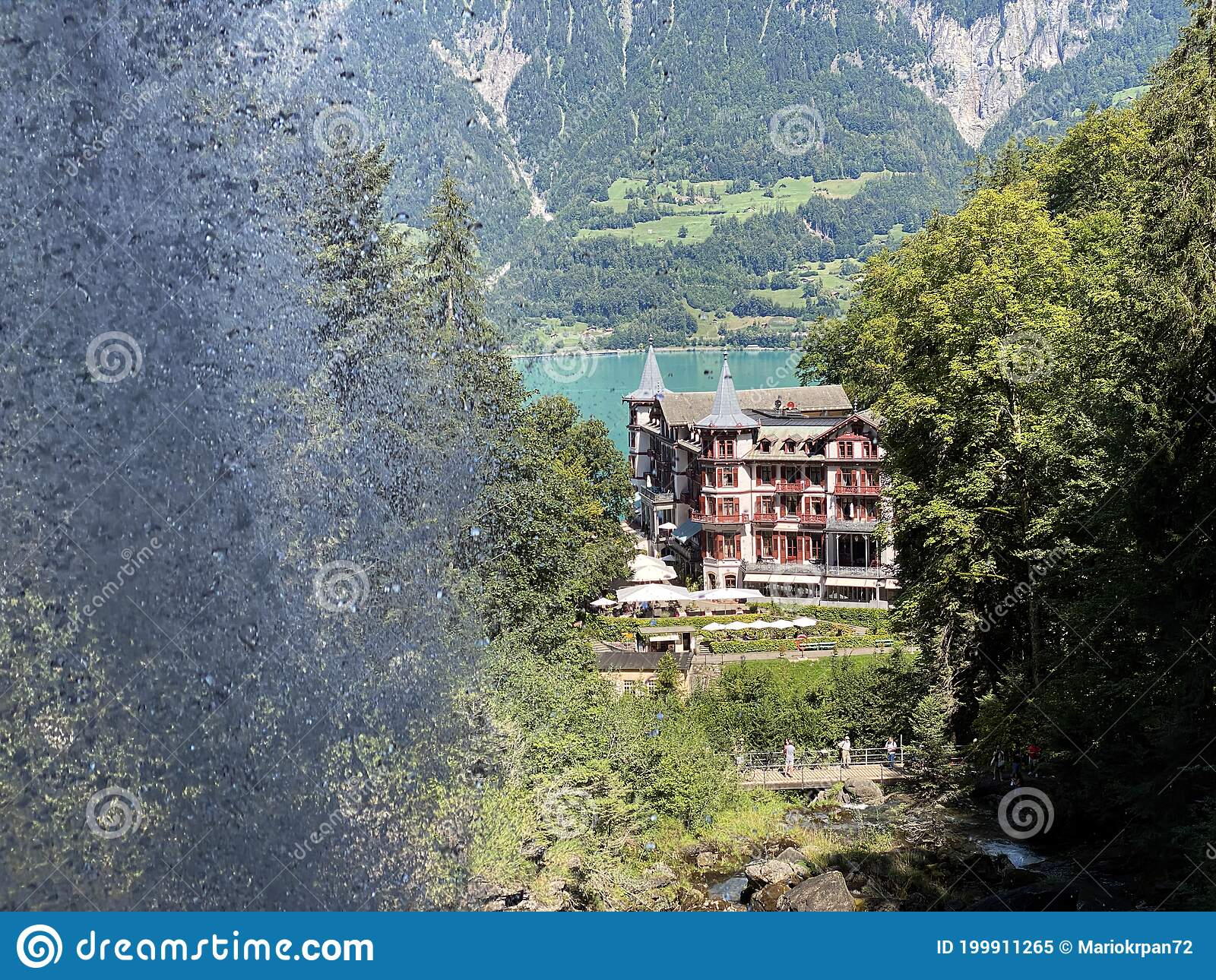 Grand Hotel Giessbach Above Lake Brienz And Next To The Waterfall Giesbach Falls Canton Of Bern Switzerland Stock Image Image Of Bern Leaf 199911265