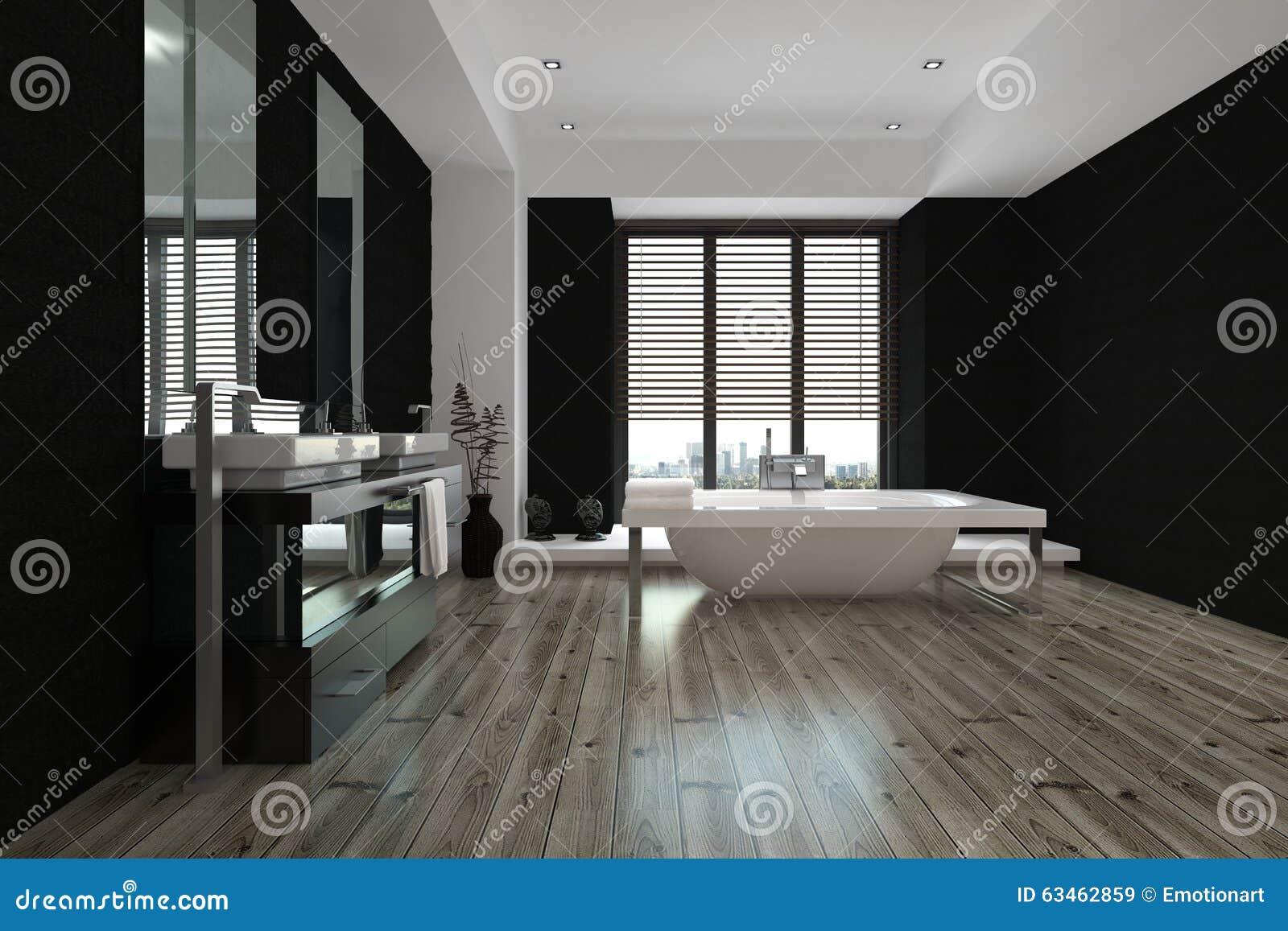 Grand intérieur noir et blanc spacieux de salle de bains