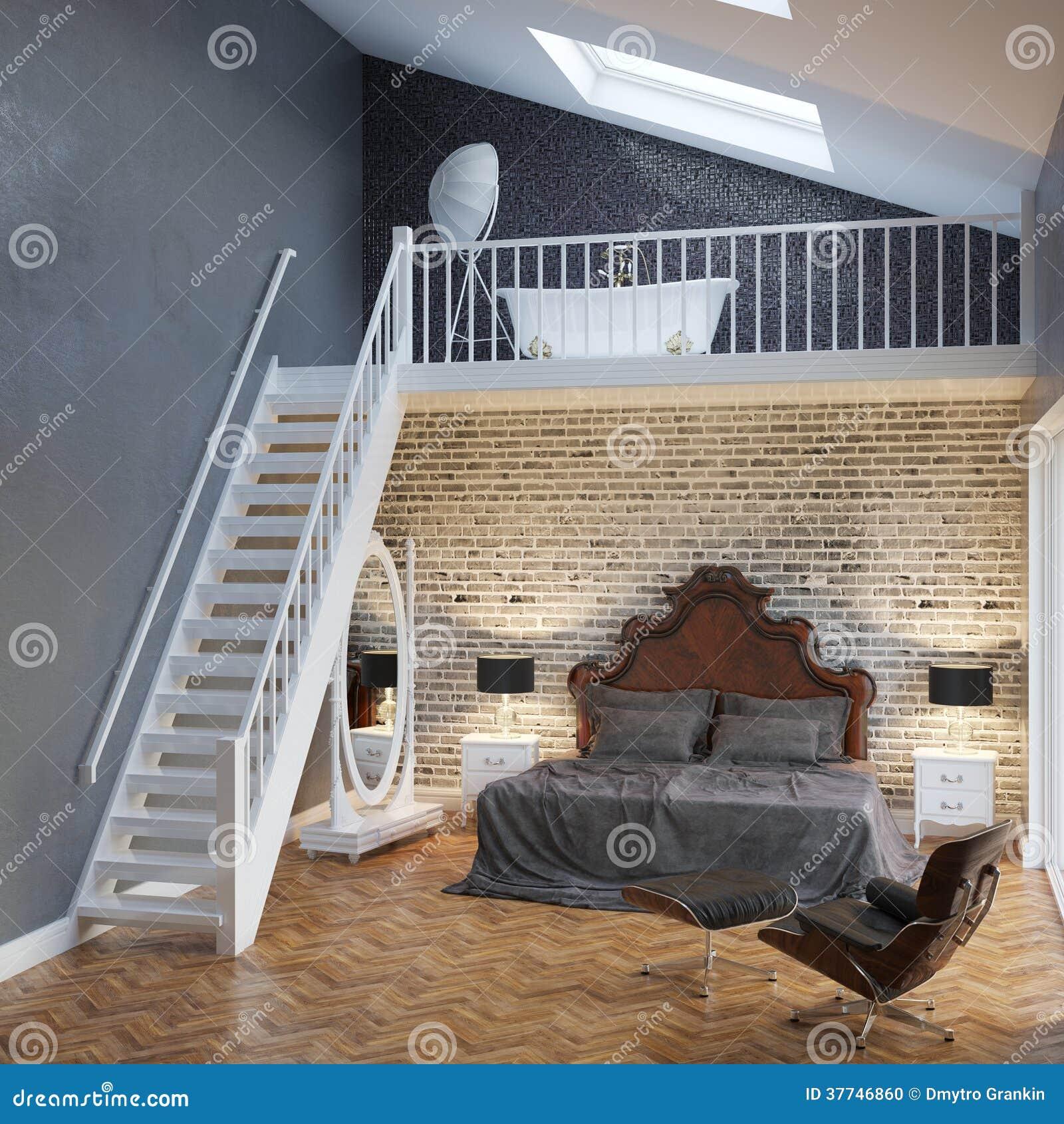 Intérieur noir de chambre à coucher avec des escaliers (front view ...