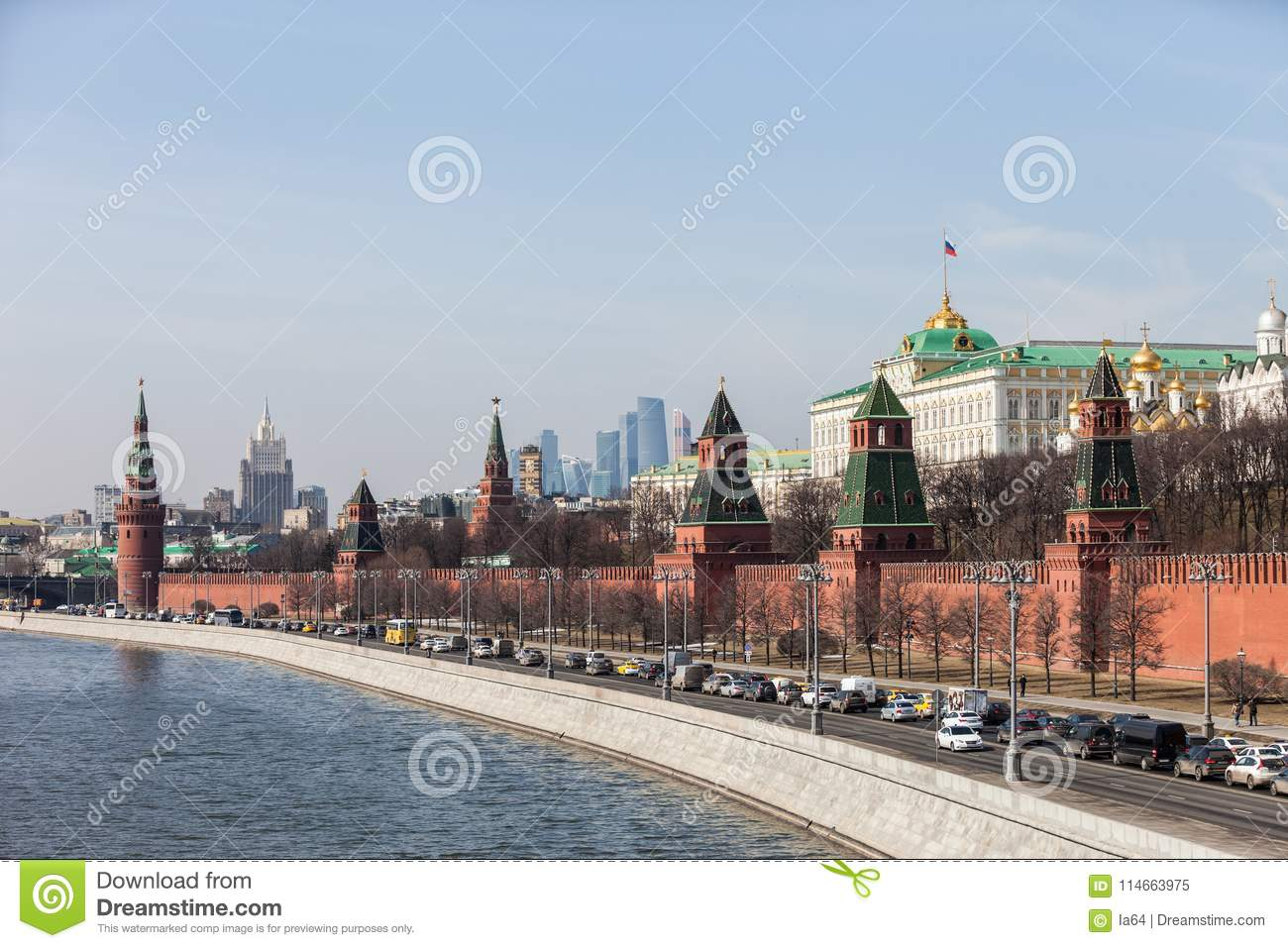 Grand Kremlin Palace Walls And Towers And Modern Moscow