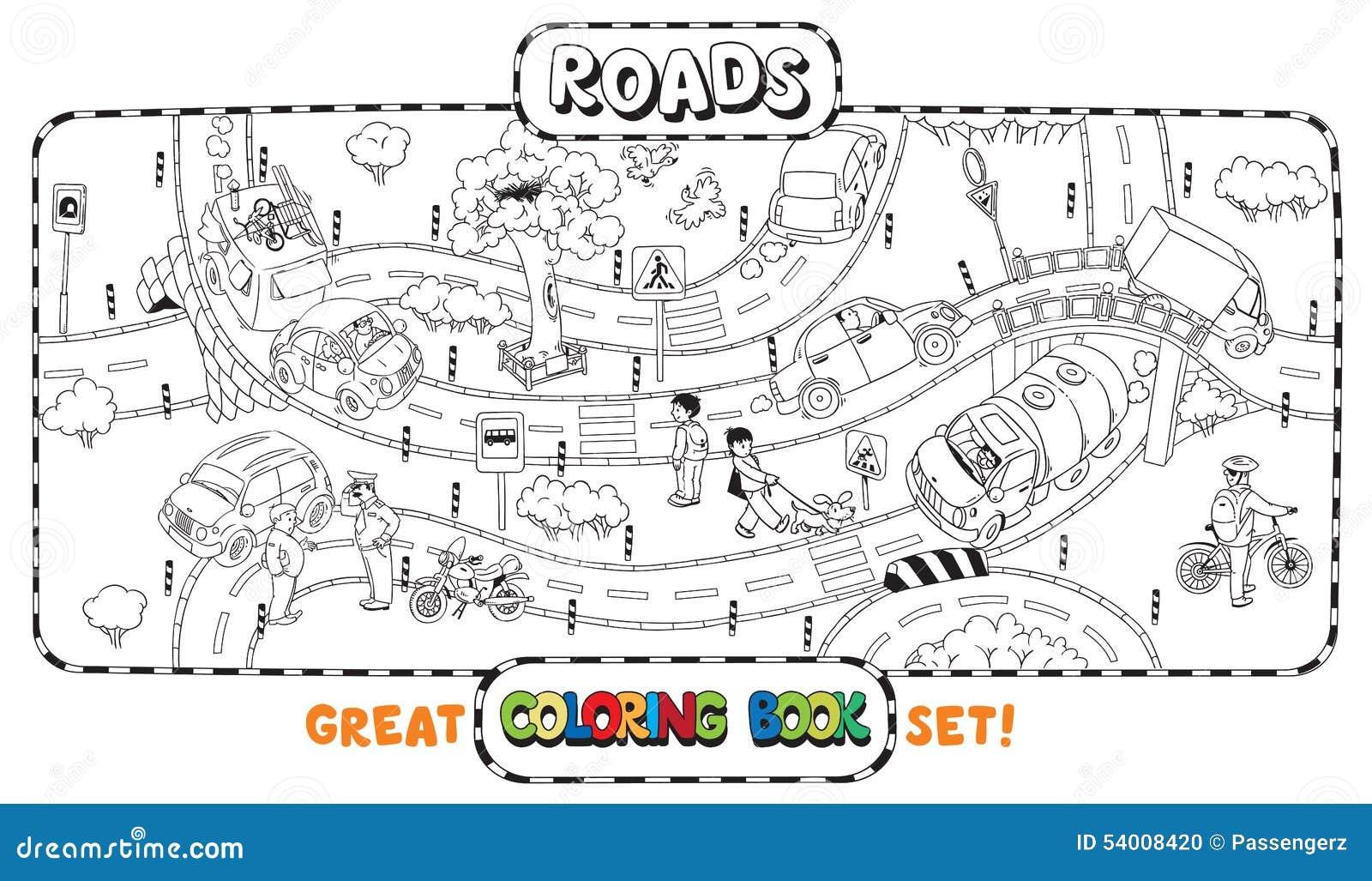 Grand livre de coloriage de route illustration de vecteur - Dessin de route ...