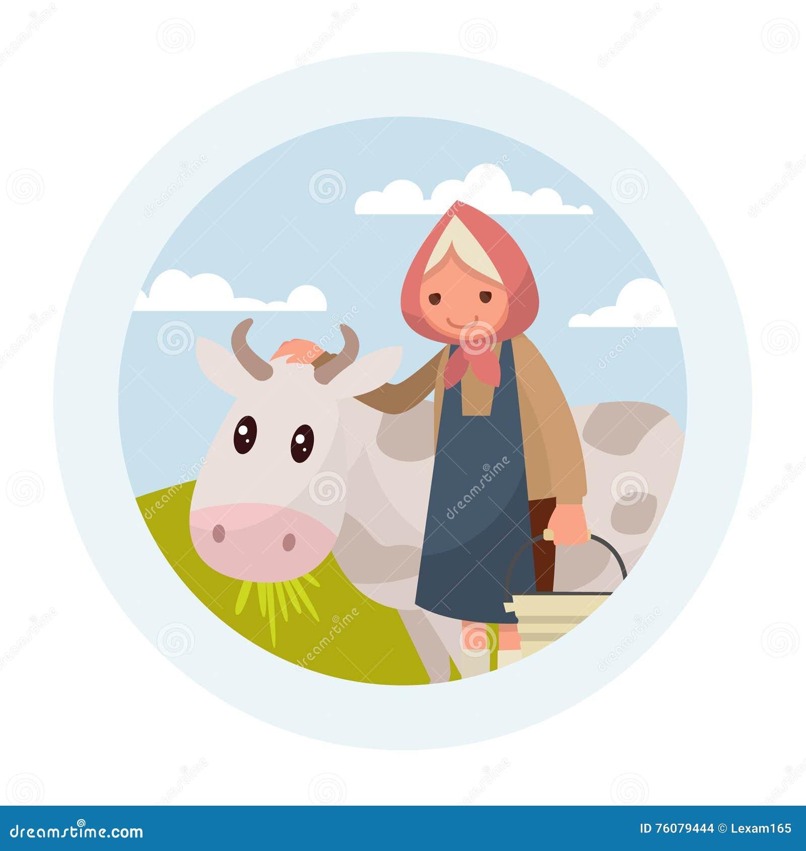 Grand-mère avec une vache L emblème des laitages Défectuosité de vecteur
