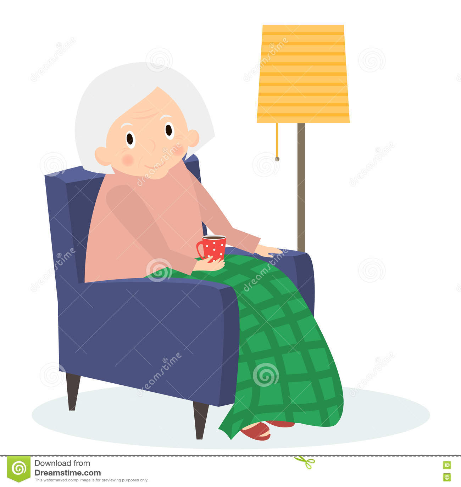 Grand-mère s asseyant dans le fauteuil Temps libre de dame âgée Thé de boissons de lecture de grand-maman Femme supérieure mignon