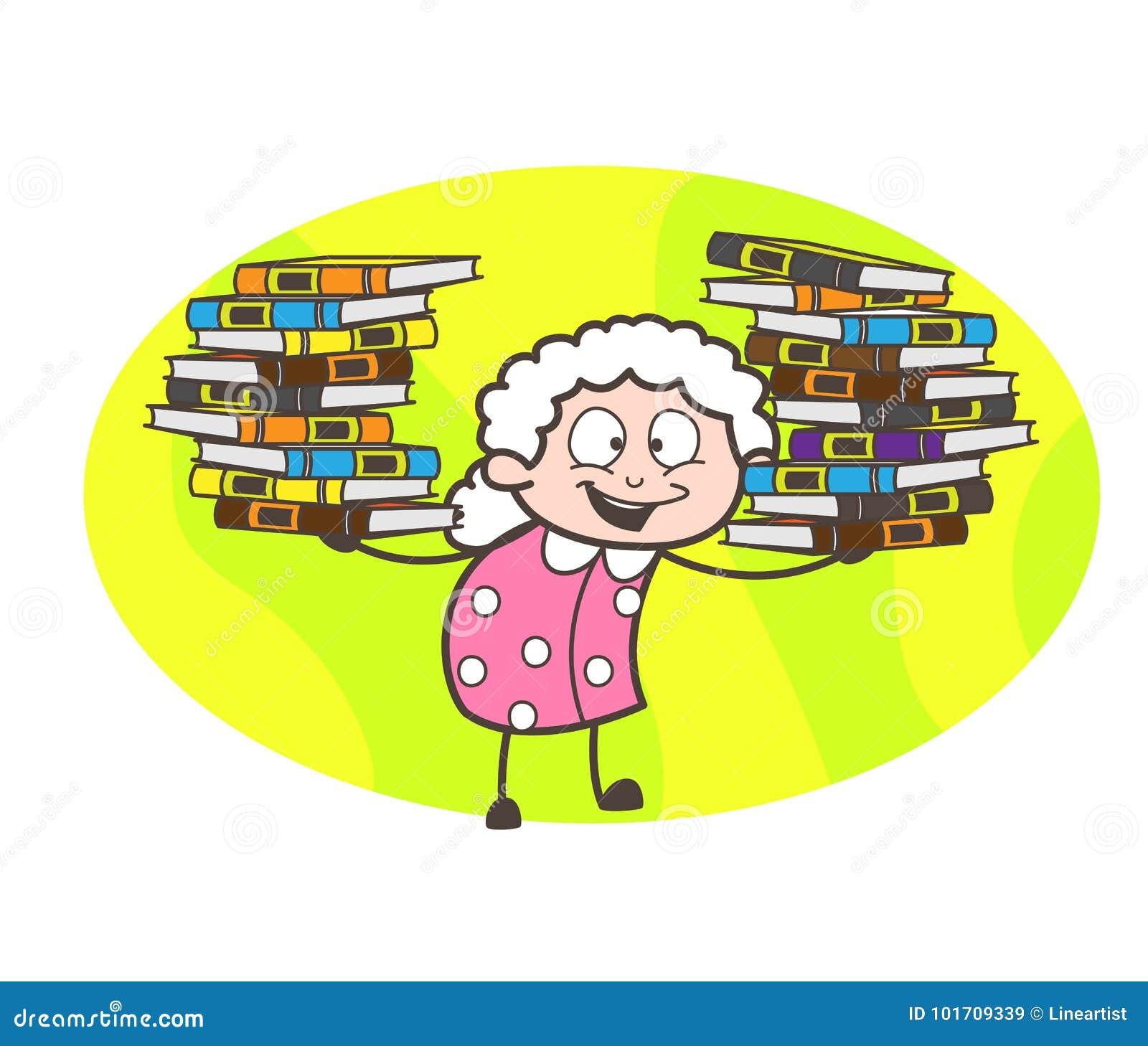 Grand-maman de bande dessinée présent le troupeau de l illustration de vecteur de livres