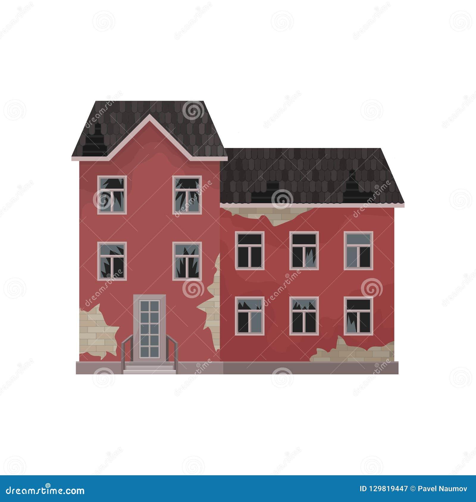 Grand manoir abandonné vieille maison avec éplucher la peinture le toit cassé et les fenêtres