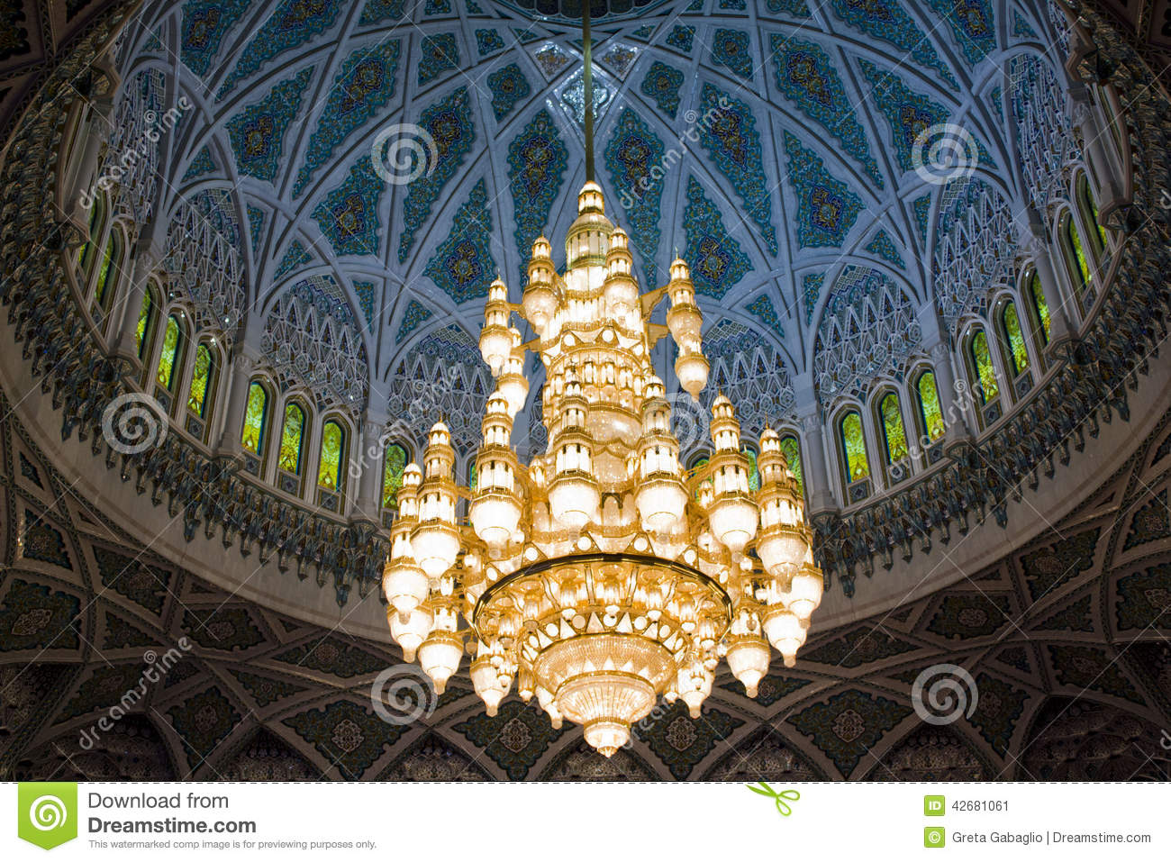 Oman Mu The Great Chandelier At Sultan Qaboos Mosque