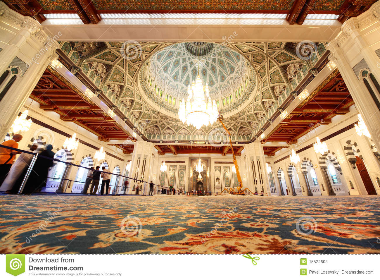 Grand Mosque In Oman General View Interior Stock Image