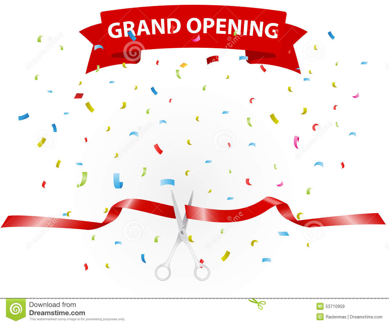 Grand Opening Background With Confetti Stock Vector - Image: 53710959