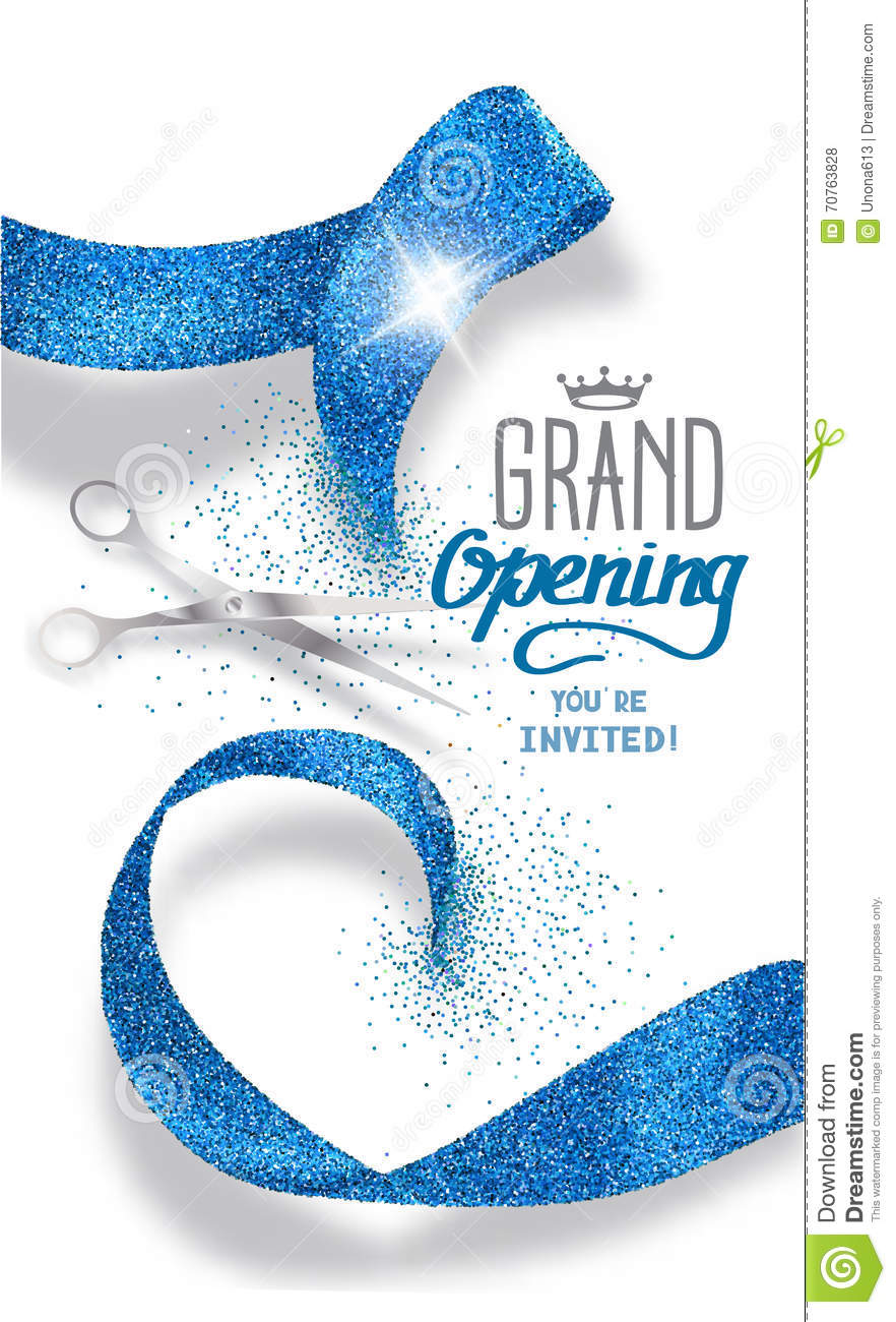 ... Ribbon grand opening banner with abstract blue abstract ribbon and