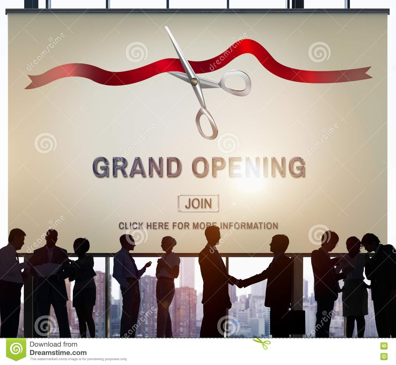 grand opening ceremony business join concept stock illustration