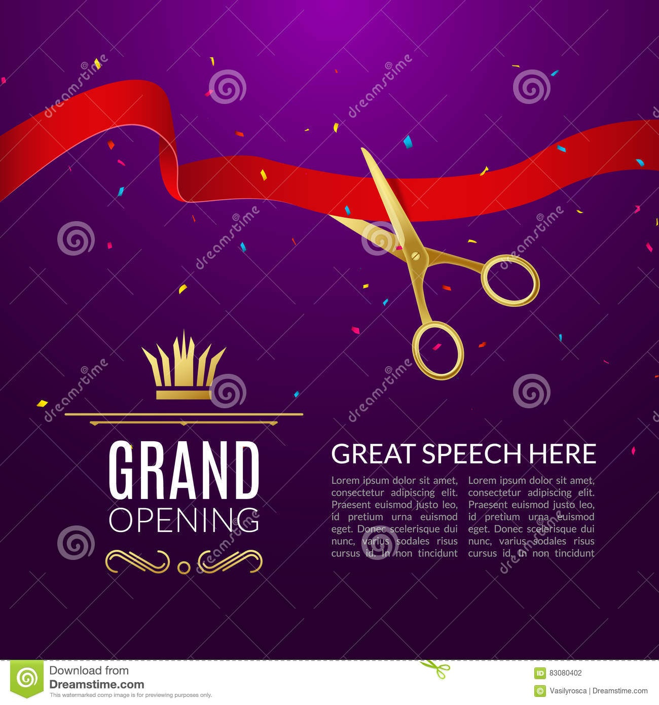 Grand Opening Design Template With Ribbon And Scissors