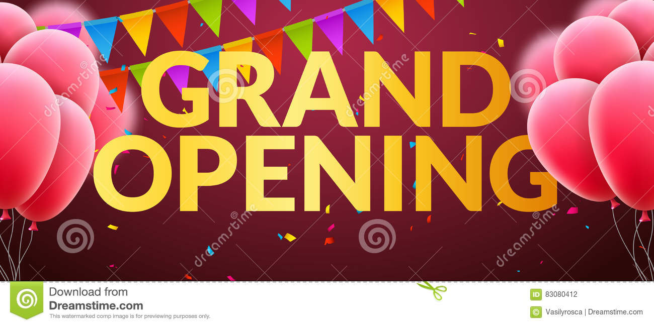 Grand opening event invitation banner with balloons and confetti grand opening event invitation banner with balloons and confetti golden words grand opening poster template m4hsunfo