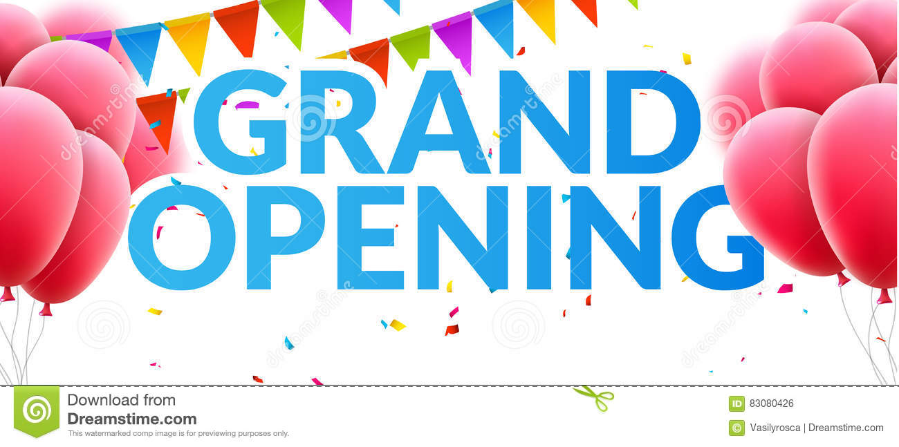 grand opening event invitation banner with balloons and confetti  grand opening poster template