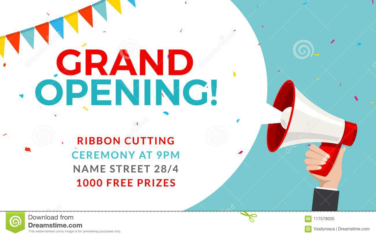 grand opening flyer banner template  marketing business concept with megaphone  grand opening