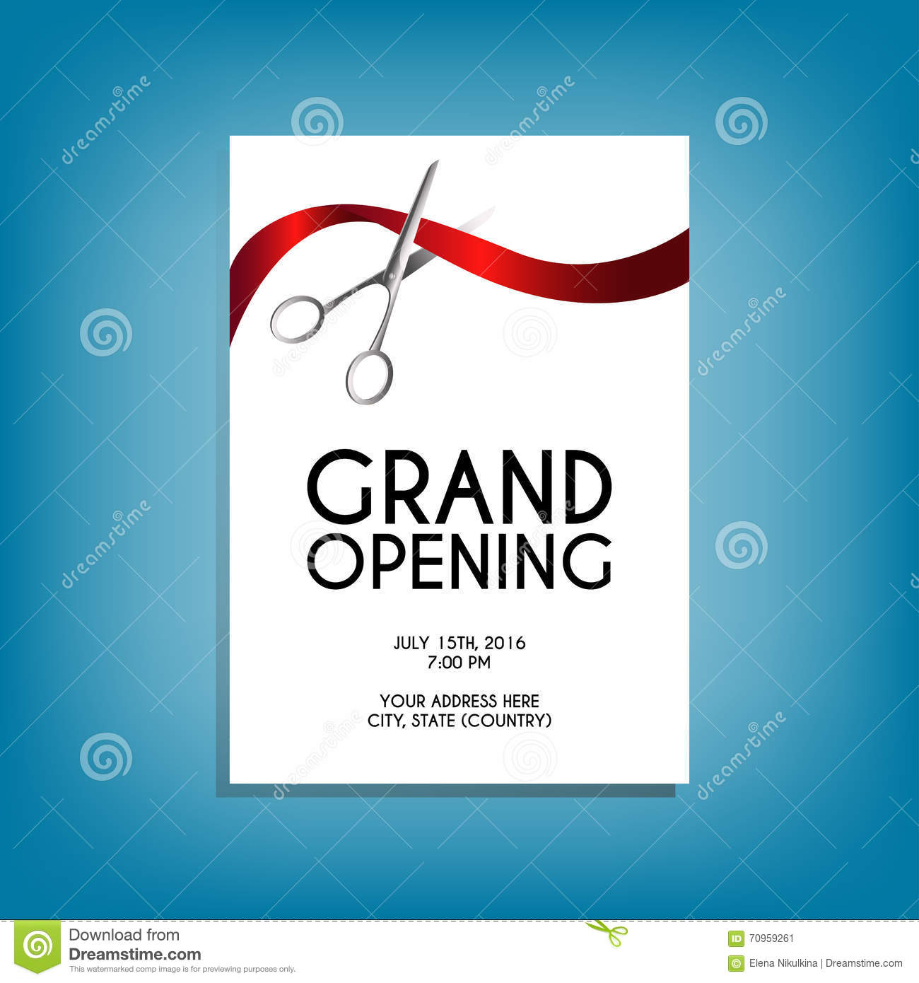 Grand Opening Flyer Mockup With Silver Scissors Cutting Red – Grand Opening Flyer