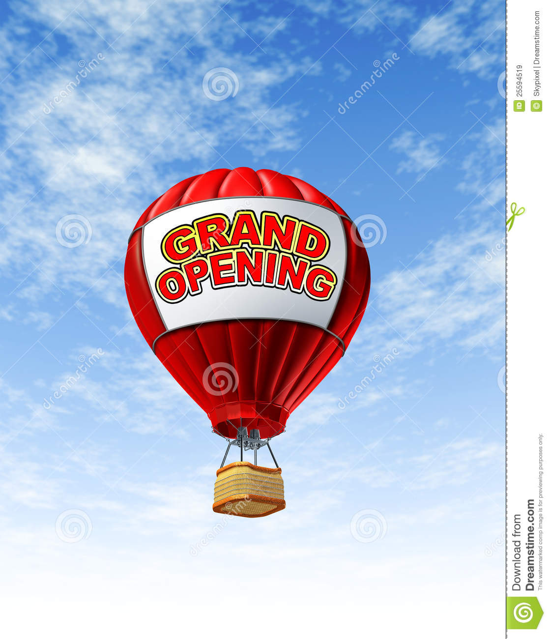 grand opening with a hot air balloon royalty free stock