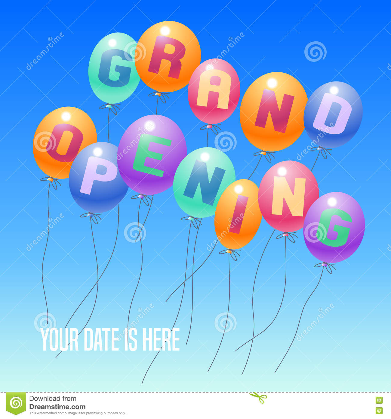 Grand opening balloons card or sign royalty free for Balloon decoration business