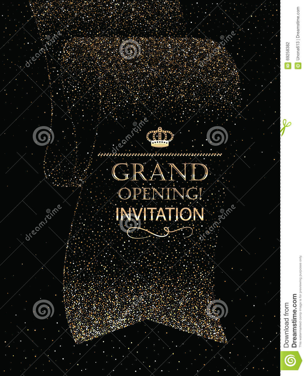Grand Opening Invitation Card With Abstract Ribbon Stock Vector
