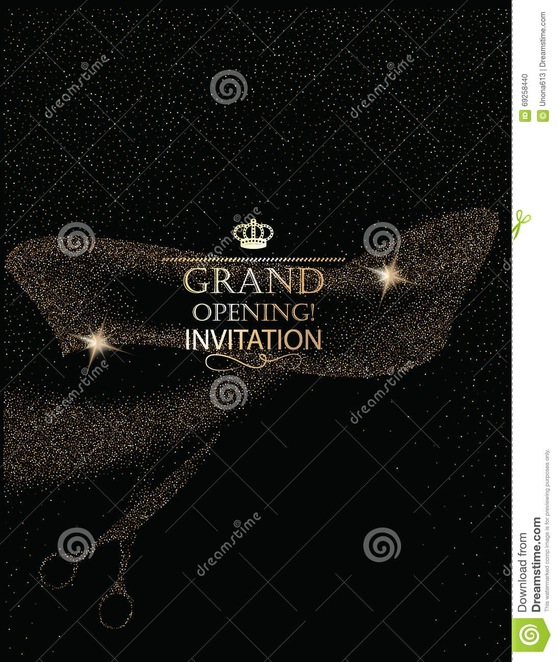 Grand Opening Invitation Card With Abstract Scissors And Ribbon – Grand Opening Invitation Cards