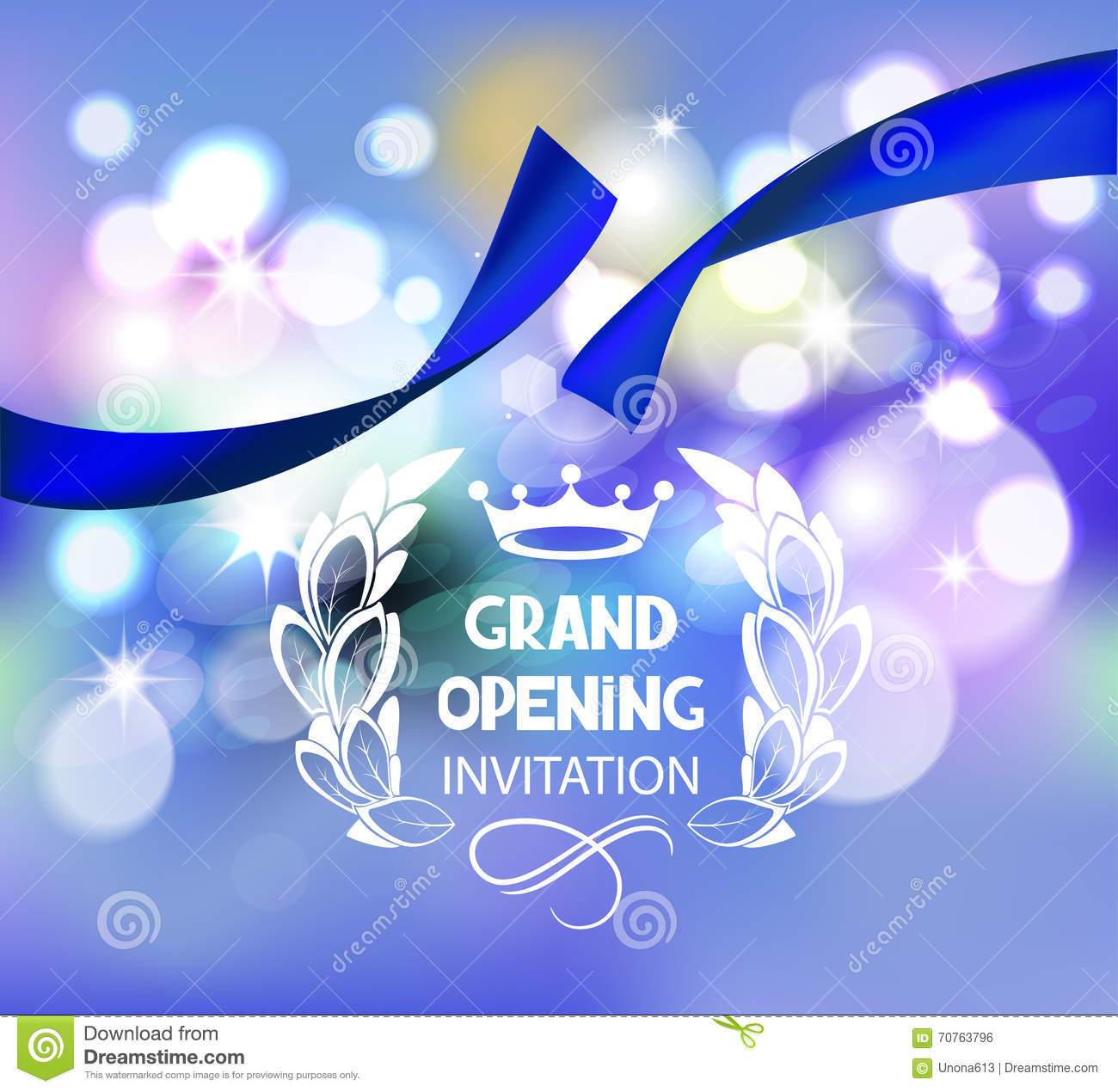 Grand opening invitation card with abstract ribbon vector