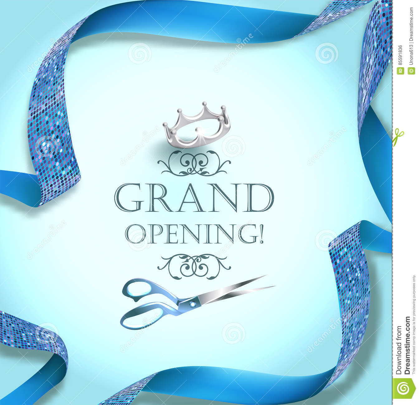 Grand Opening Invitation Card With Scissors And Blue Curly Ribbon – Grand Opening Invitation Cards