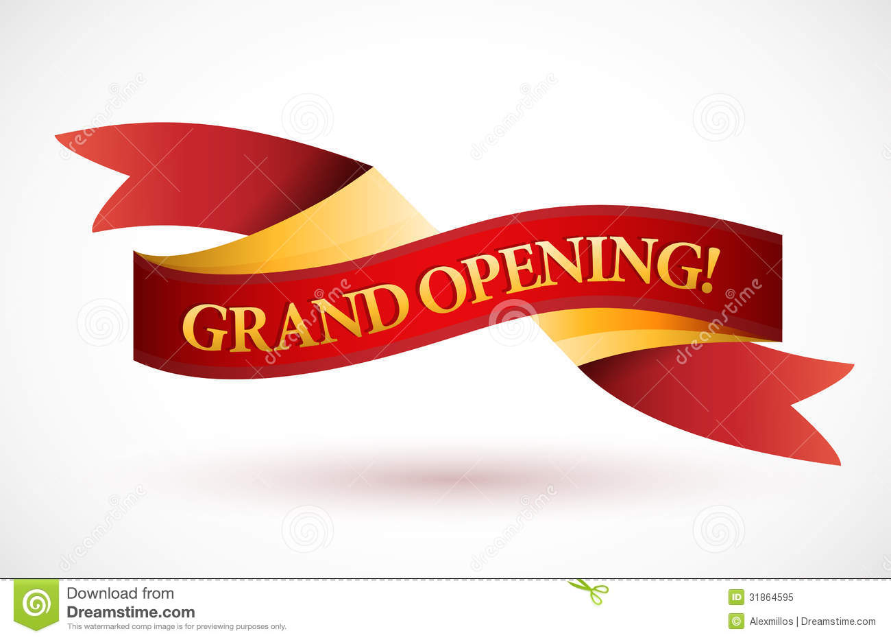 Grand opening red waving ribbon banner