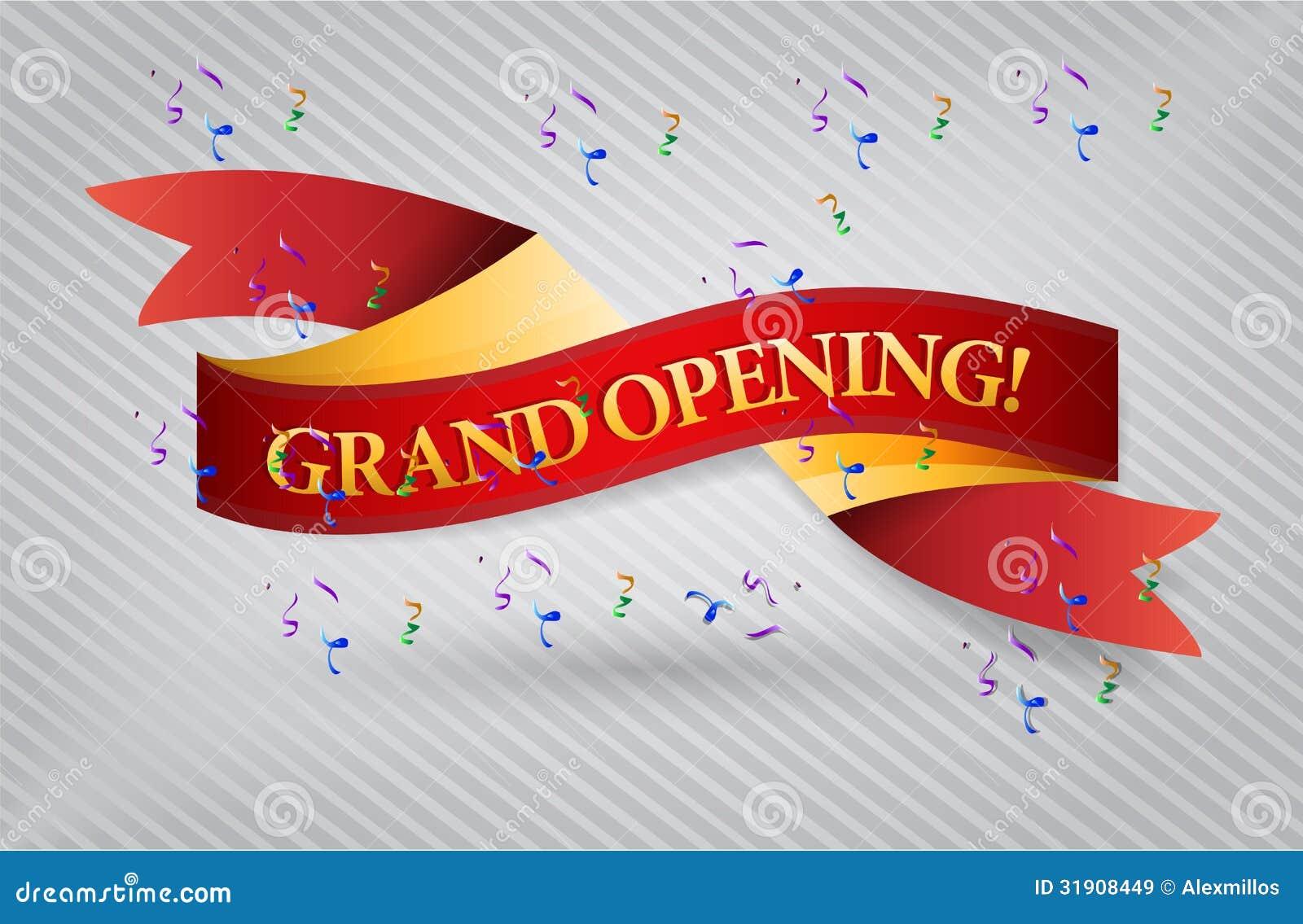 grand opening red waving ribbon banner royalty free stock photo