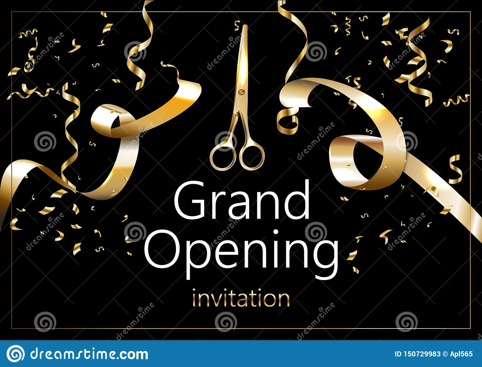 Grand opening sparkling banner. Text composition with golden splashes and ribbons. Elegant style.